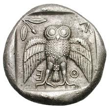 Decradacma. Antigua moneda griega. S V a.c